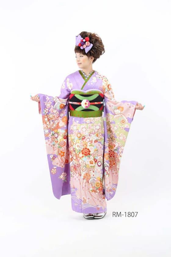 舞子風紫振袖
