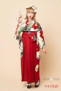 中村里沙赤色の椿柄卒業式袴