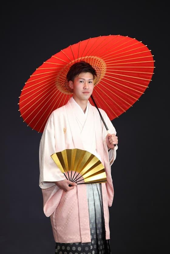 成人式用紋付袴ピンク色