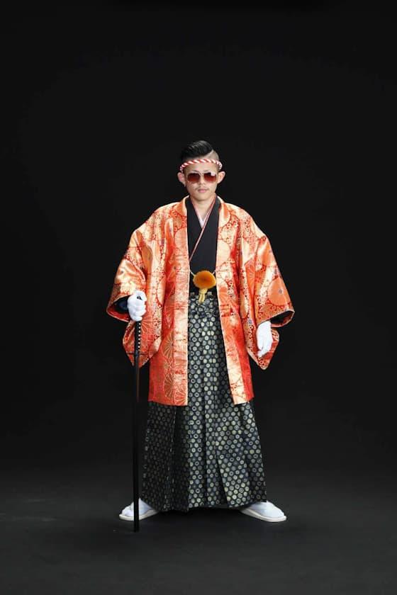 成人式 男性用紋付袴 オレンジに金糸
