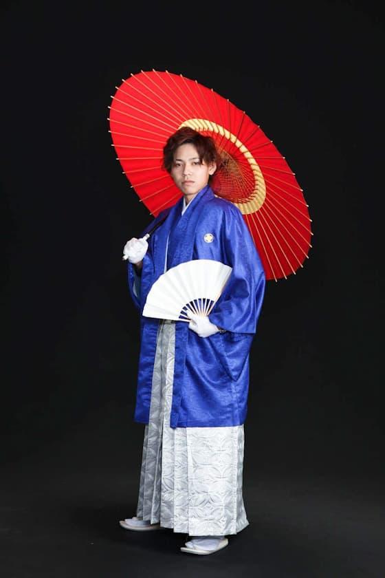 成人式レンタル紋付袴青色
