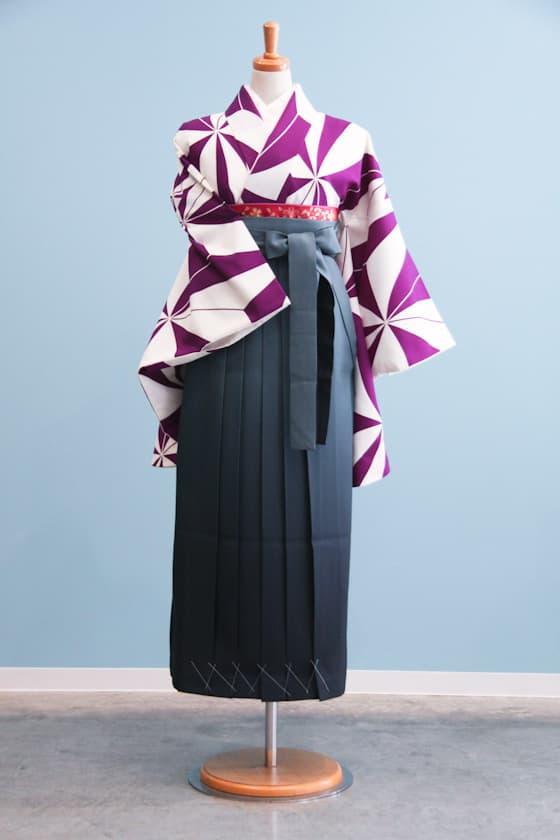 紫風車柄のモダンな卒業式袴