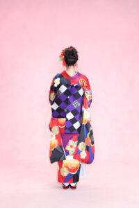 市松模様の帯が個性的な振袖